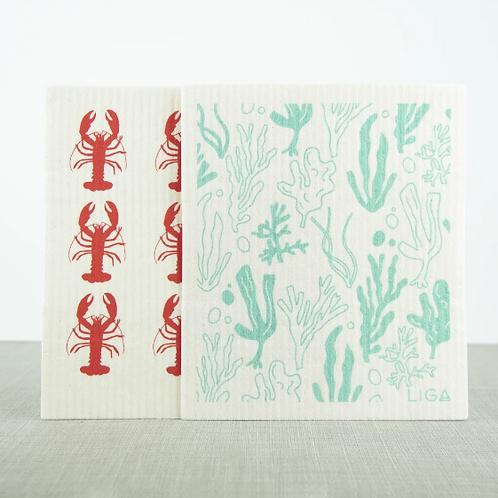 Lobster & Seaweed Eco Dish Cloths
