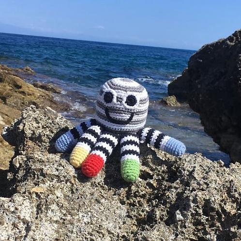 Crochet Octopus Rattle - monochrome