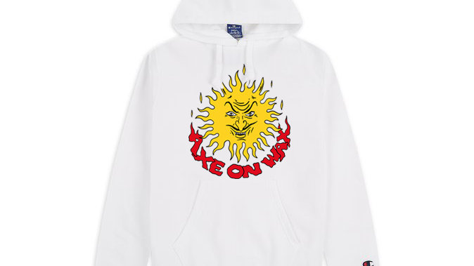 Burning Sun White Champion Hoodie