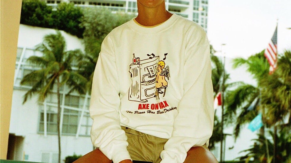 'Drinking Piano' White Crewneck