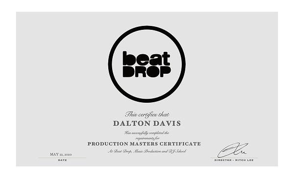 dalton 2020 beat drop masters certificat