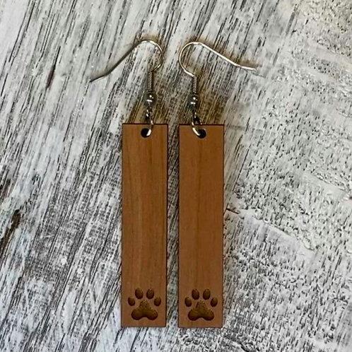 Dog Print Bar Drop Earrings