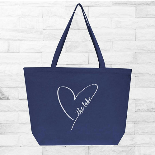 Heart The Lake Washed Canvas Tote