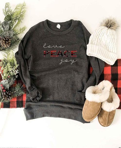 Love Peace Joy French Terry Raglan Sweatshirt