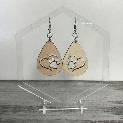 Dog Print & Heart Drop Earrings