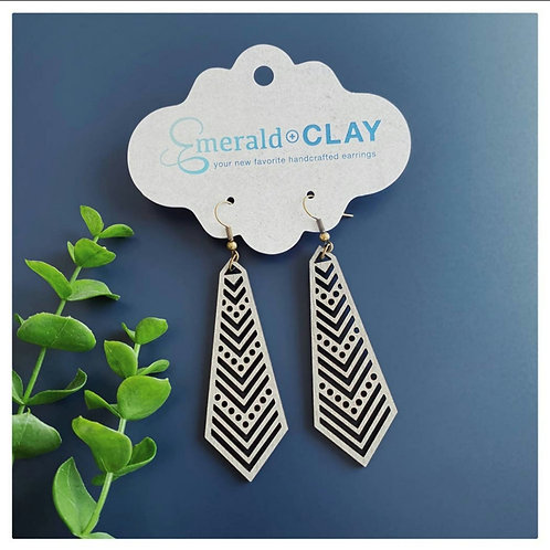 Chevron Tie Wood Earrings