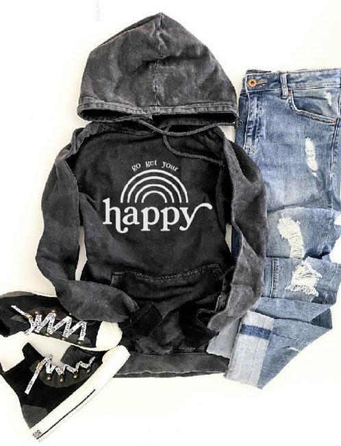 Go Get Your Happy Vintage Wash Hoodie- Vintage Black
