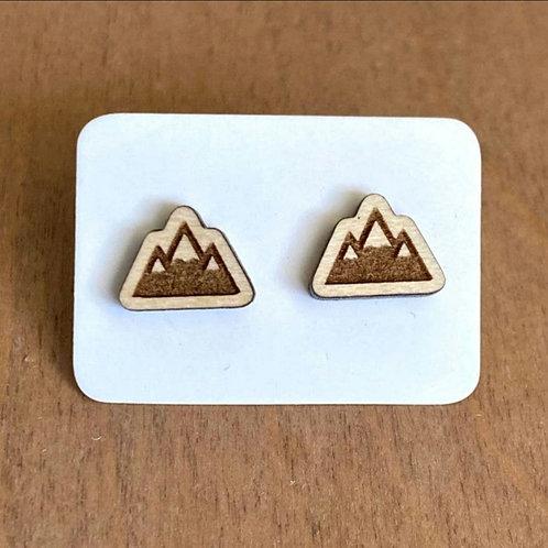 Three Mountain Peak Stud Earrings