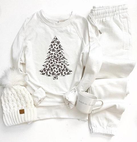 White Leopard Tree French Terry Raglan Sweatshirt