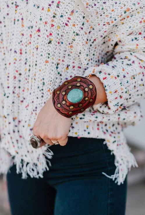 Aegean Boho Leather Cuff-Turquoise