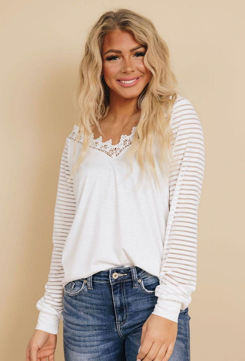 Candace Lace Striped Long Sleeve Tee