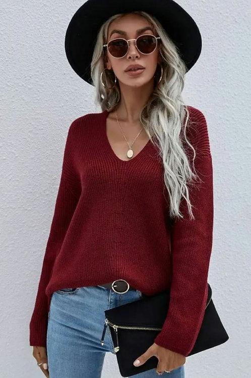 Stylish V Neck Pullover Sweater
