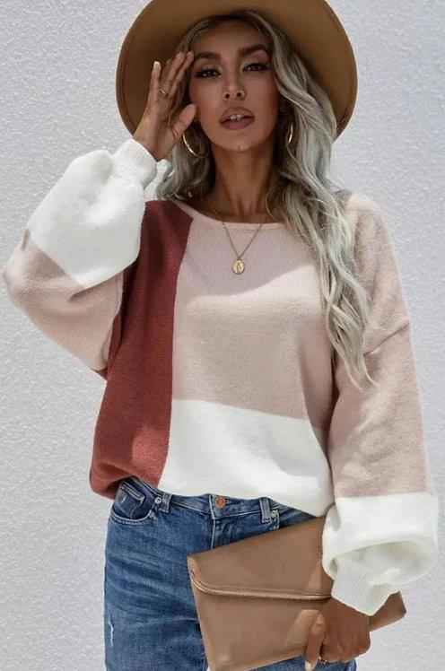 Multi Color Block Balloon Sleeve Sweater