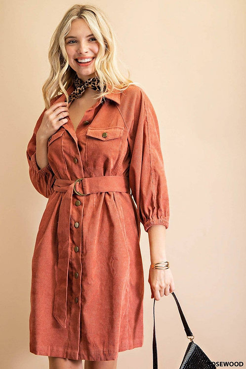 Corduroy Button Down Belted Dress