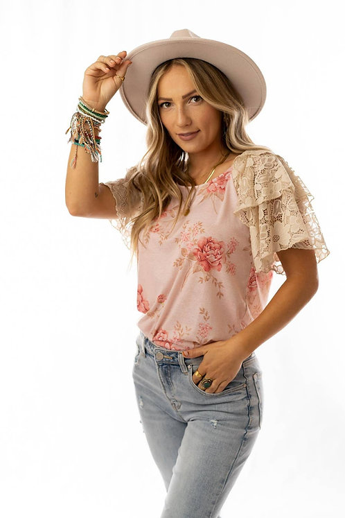 Floral Beauty Ruffle Sleeve Top