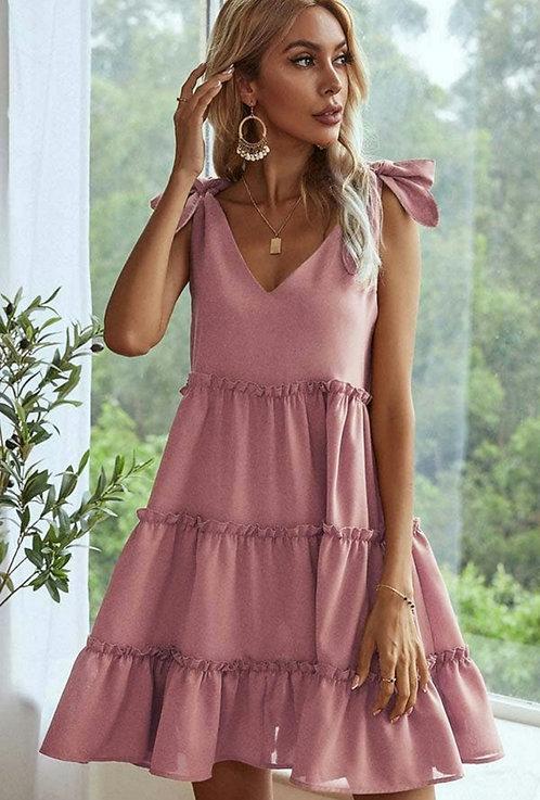 Tying Shoulder Tiered Mini Dress