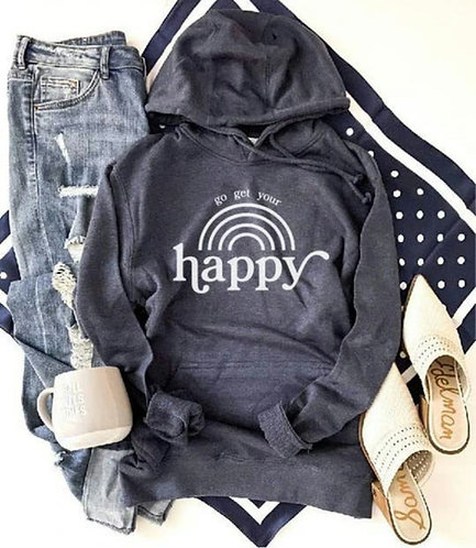 Go Get Your Happy French Terry Hoodie- Heather Navy