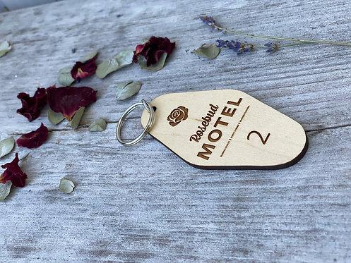 Rosebud Motel Retro Keychain