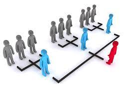 Réseau de marketing de réseau de distributeur, un homme rouge, 3 hommes en bleus et 9 hommes en gros