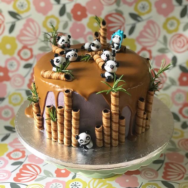 Panda Themed Biscoff Cake