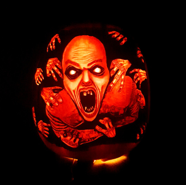 """Grab Him!"" Pumpkin carving"