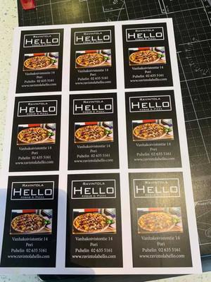 Ravintola Hello passi/käyntikortti