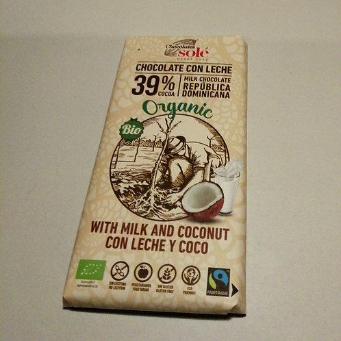 Chocolate de leite e coco SOLÉ 100g