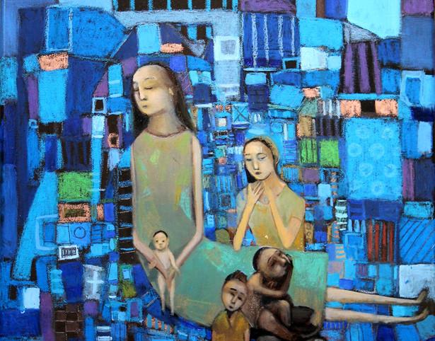 femme à l'enfant sur fond bleu