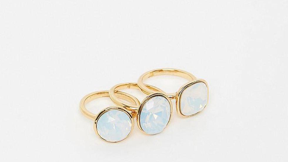 Izoa Triple Trouble Set of Three Ring Gold Opal
