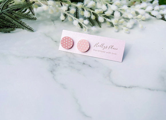 Pink and white heart studs