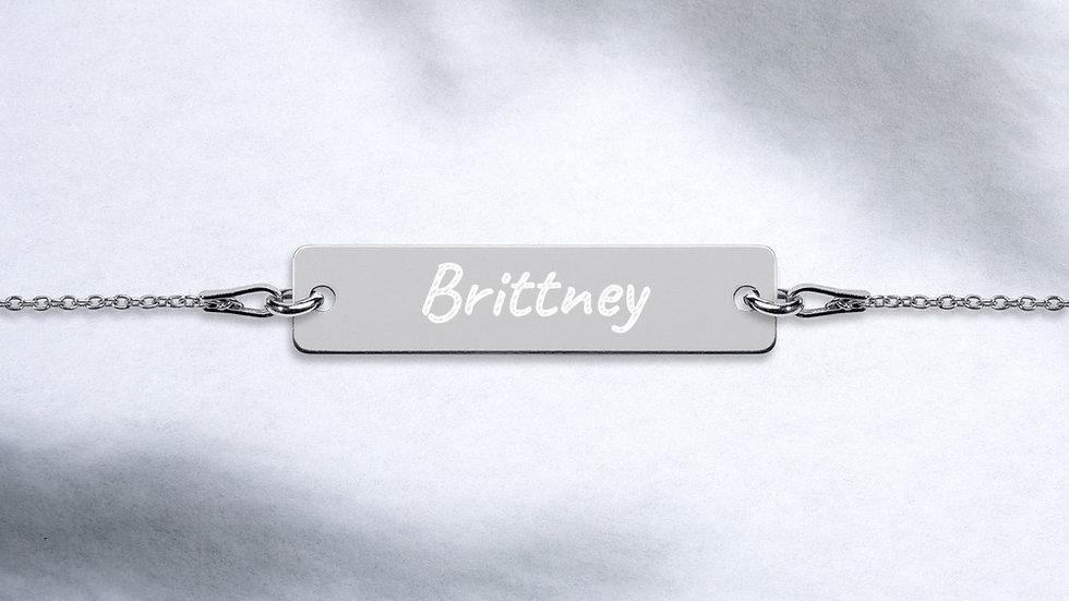 Engraved Bar Chain Bracelet