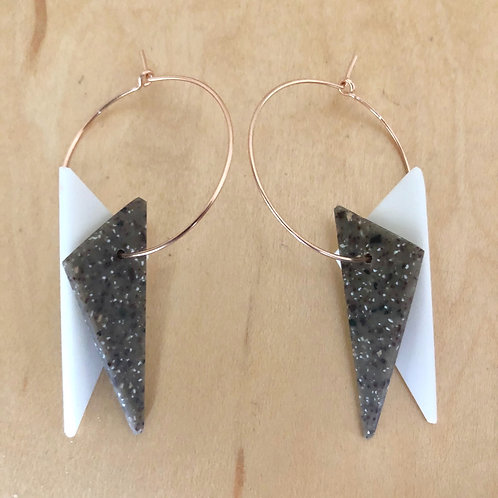 Dual-tone Triangle Hoop Earrings