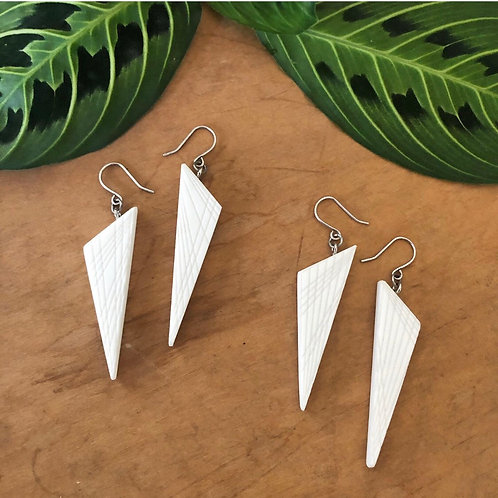 Triangle Accent Earrings /White