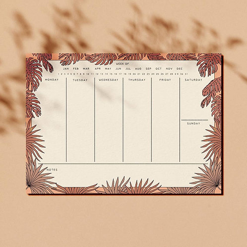 Pink Tropical Weekly Planner Notepad