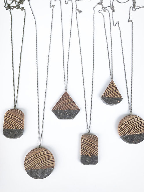 Heart Pine + Speckle Necklace