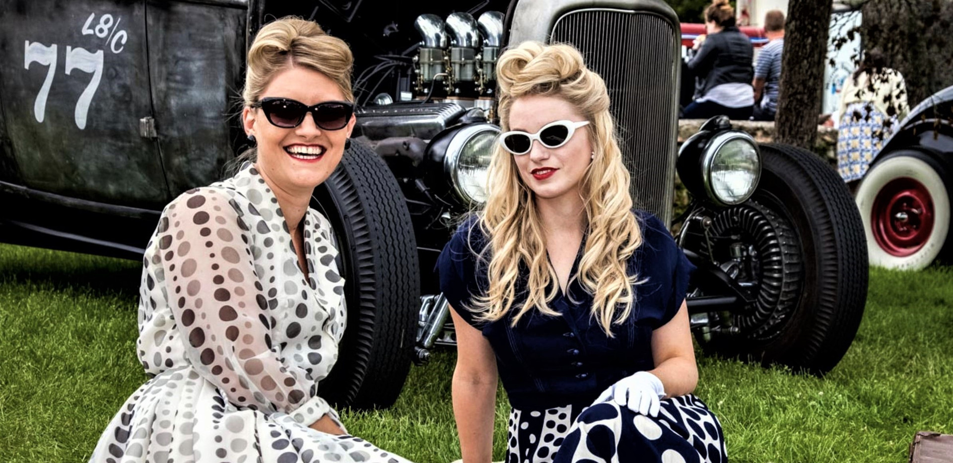 Classic Cars-Two Beautiful Women
