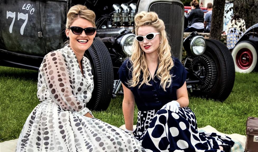 Classic Cars-Two Beautiful Women