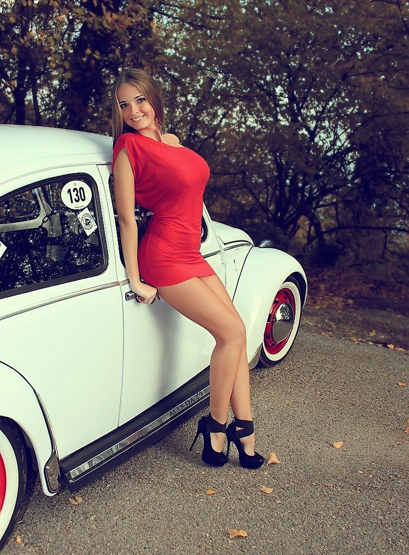 Hot Rods and Custom Cars lady in Red Dre