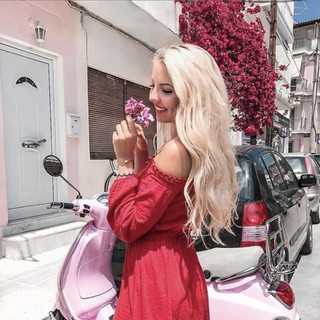 Hot Women and Vespa Scooters-Moped Girl in Red.JPG