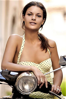 Beautiful girl on a scooter-Hot Women an