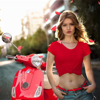 Hot Women and Vespa Scooters-Vespa Girls-Moped Women Fashion