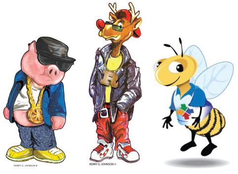 Cool, Pig, Rudolph and Bee