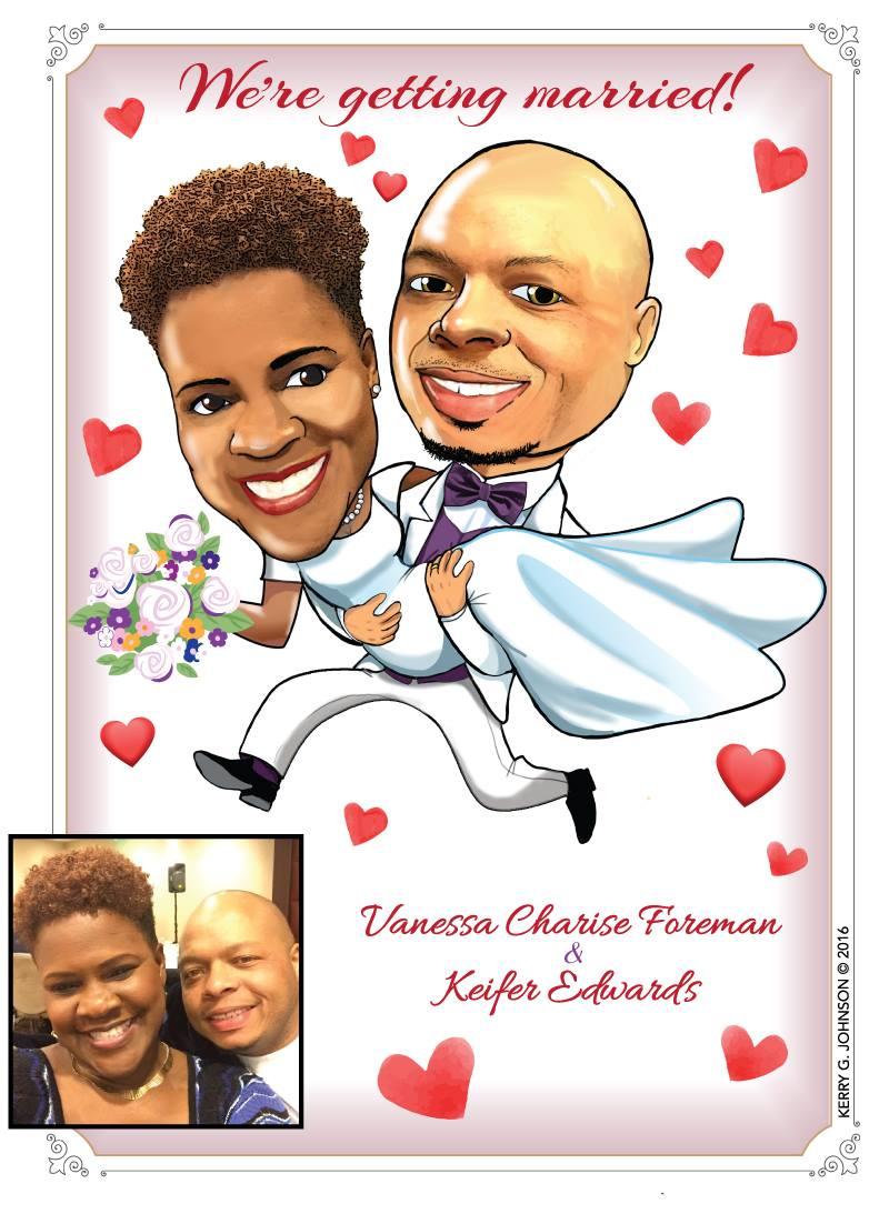 Wedding couple caricature 2