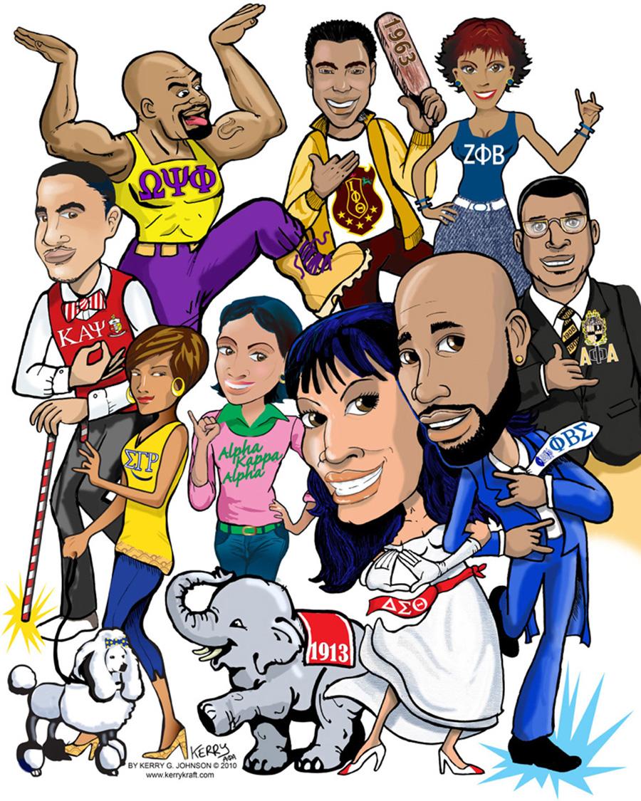 Divine 9 cartoon fraternity sorority