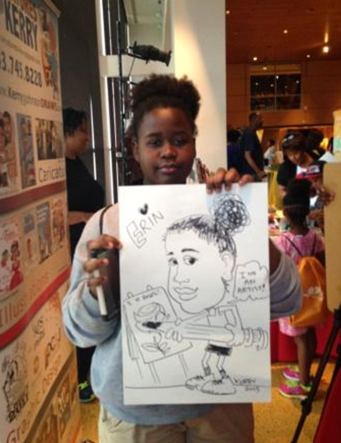 Caricature of Erin, a young artist