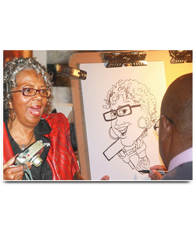 Gallery opening caricatures