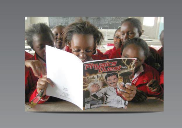 African girl reads PhysicsQuest: Nikola Tesla