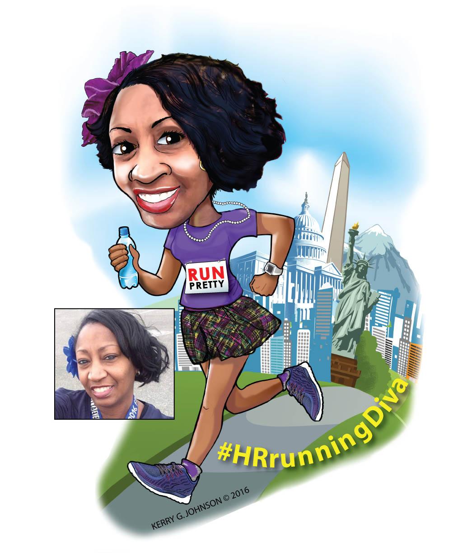 HR Running Diva Caricature
