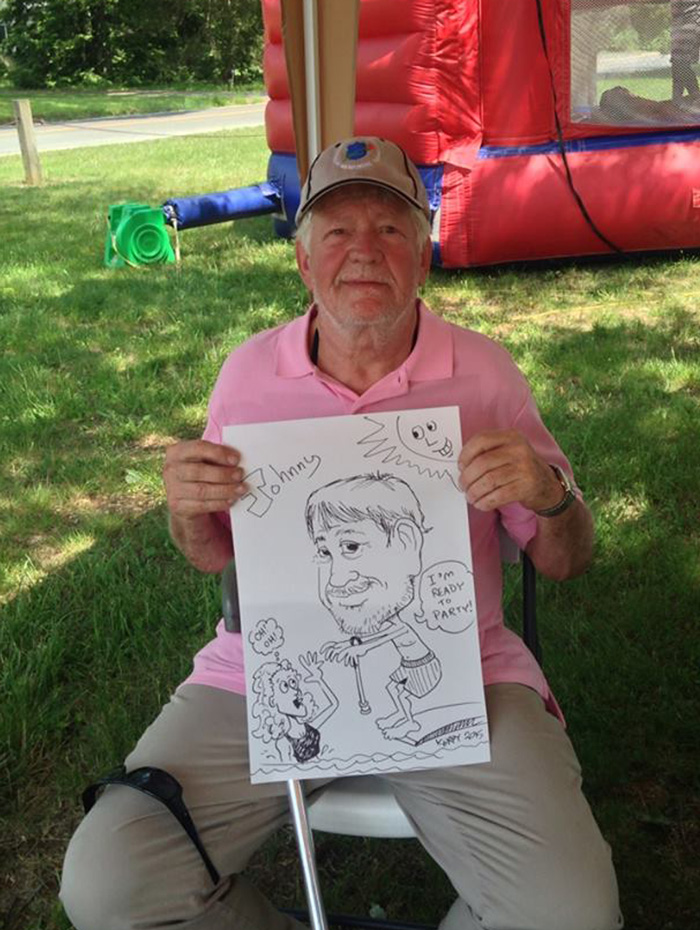 Johnny likes his swimming caricature