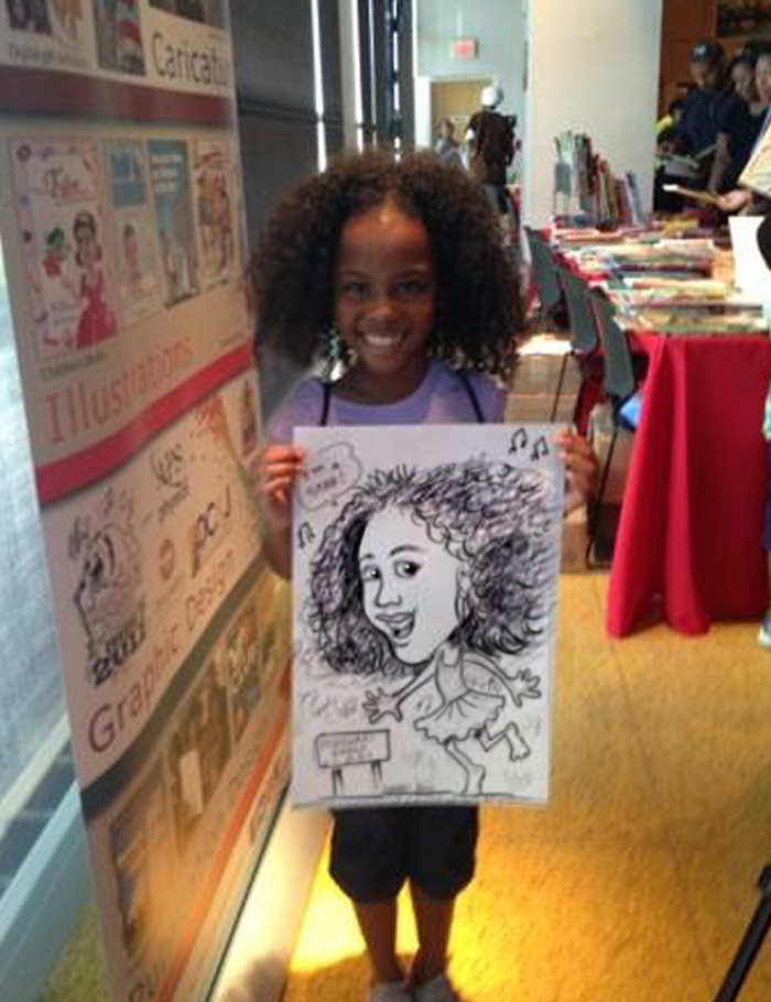 Curly-haired girl and her caricature